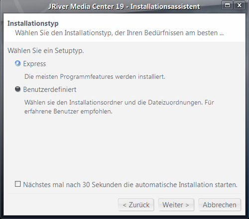 jriver mc installationsassistent