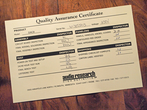audio research quality certificate