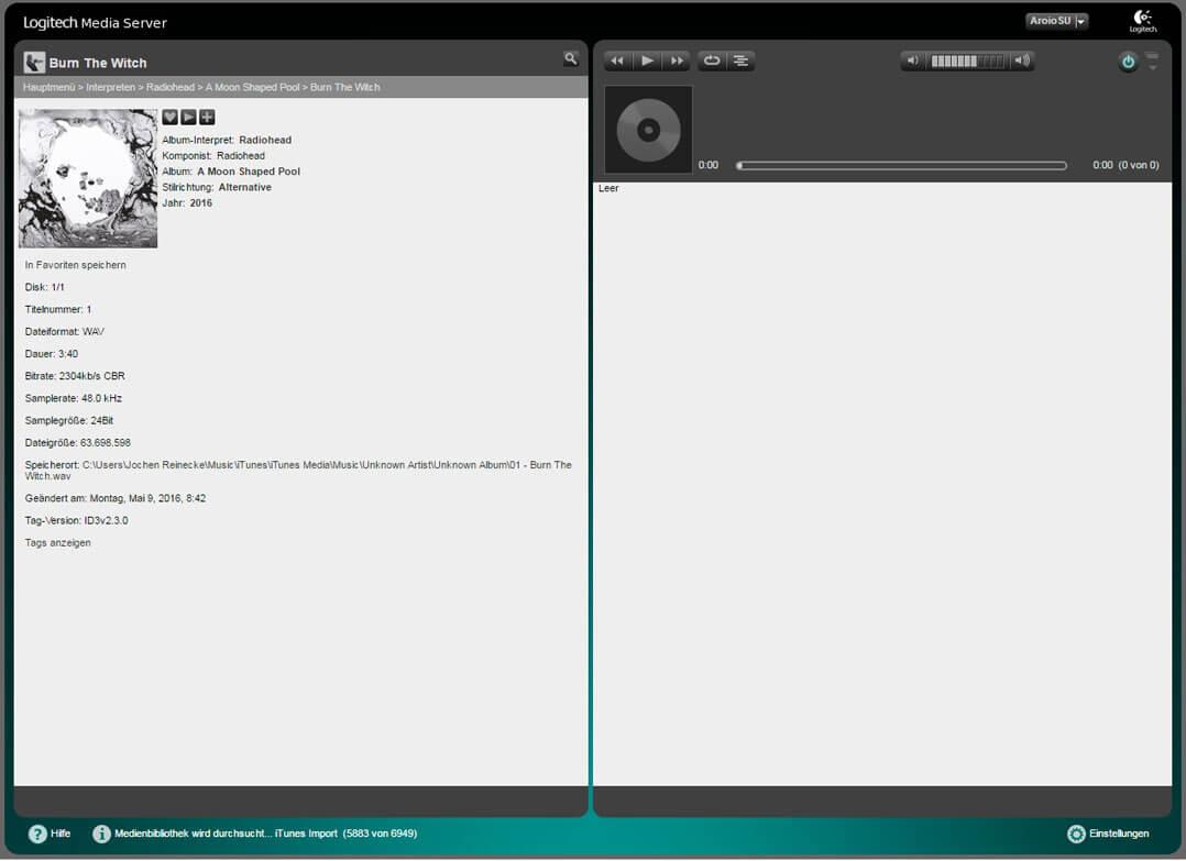 Weboberfläche des Logitech Media Servers