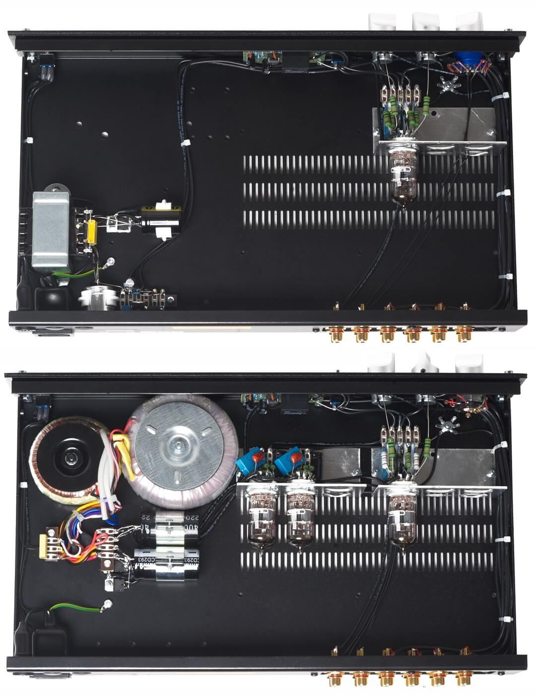 Luftiger Aufbau: Croft Micro 25 Vorstufen - oben die Standard- unten die Regulated-Version
