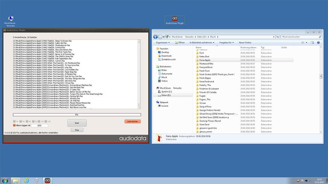 Die zu korrigierenden Musikdateien werden einfach vom Dateiexplorer in das AV-PlugIn herübergezogen