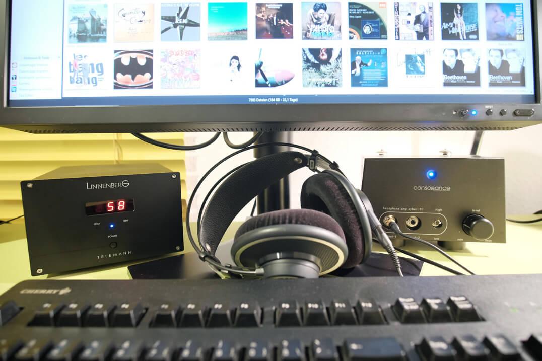 Linnenberg Telemann DAC/Vorstufe auf dem Schreibtisch
