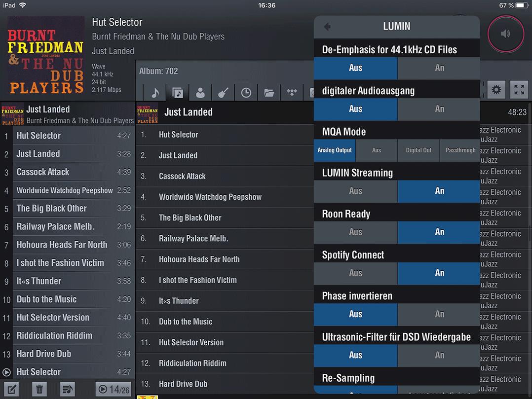 In der App lassen sich auch einige Gerätesettings - Phase invertierenr, Re-Sampling, Lautstärkeregelung an/aus etc. - einstellen
