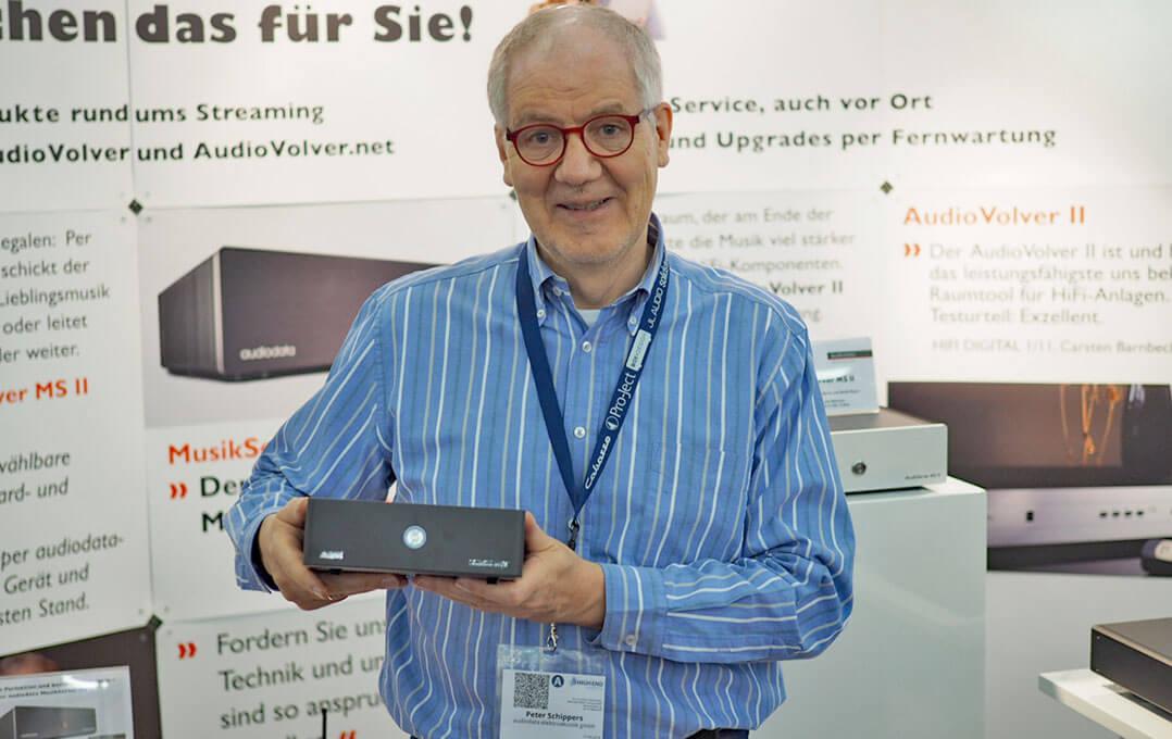 Peter Schippers von Audiodata hatte seinen neune Musikserver mitgebracht