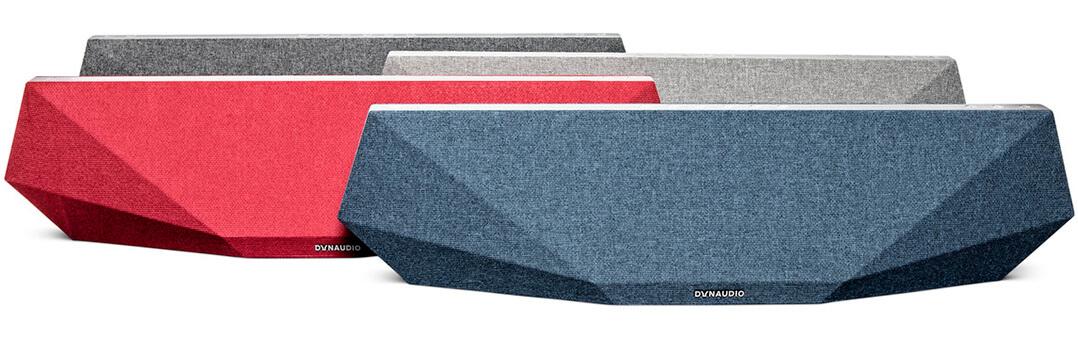 Die Dynaudio-Music-Streaminglautsprecher sind in vier Farben erhältlich: Blau, Rot, Hell- und Dunkelgrau