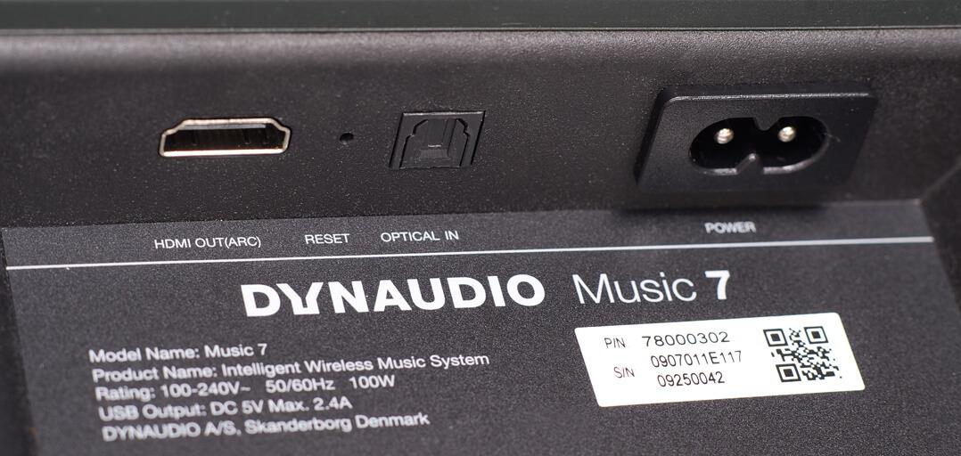 HDMI-, Toslink und Netzanschluss des Dynaudio Music 7