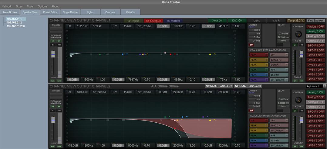 Die Filtereinstellungen werden mit Unos Creator angelegt und auf der Ascendo-Endstufe gespeichert
