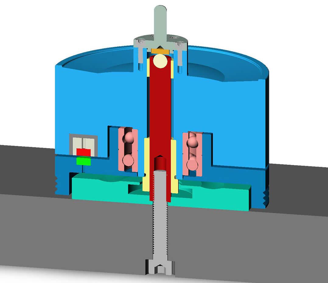 Prinzipzeichnung des TMD-Lagers von Transrotor