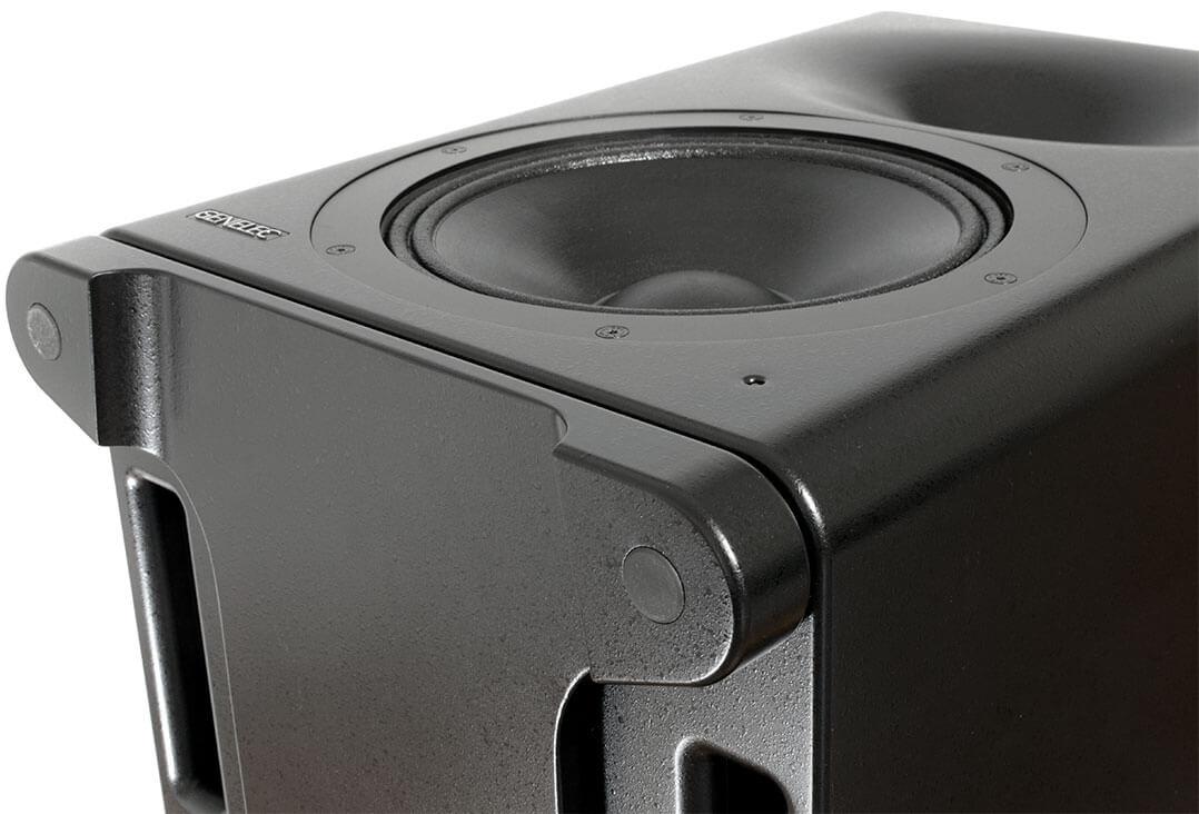 Blick auf den entkoppelnden Standfuß der Genelec S360