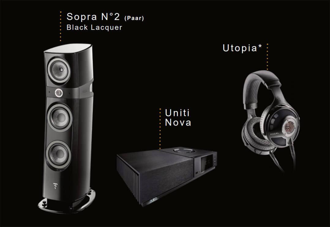 Wer sich für ein Lautsprecherpaar der Focal Sopra N°2 (13.000Euro) in Kombination mit dem All-in-one-Player Uniti Nova von Naim (5.000Euro) entscheidet, bekommt Focals Referenzkopfhörer Utopia im Wert von 4.000Euro geschenkt.