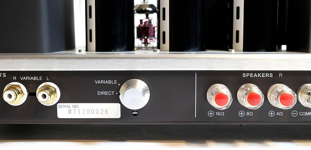 Die Luxman-Endstufe besitzt je einen Eingang mit variablem und fixem Gain-Setting