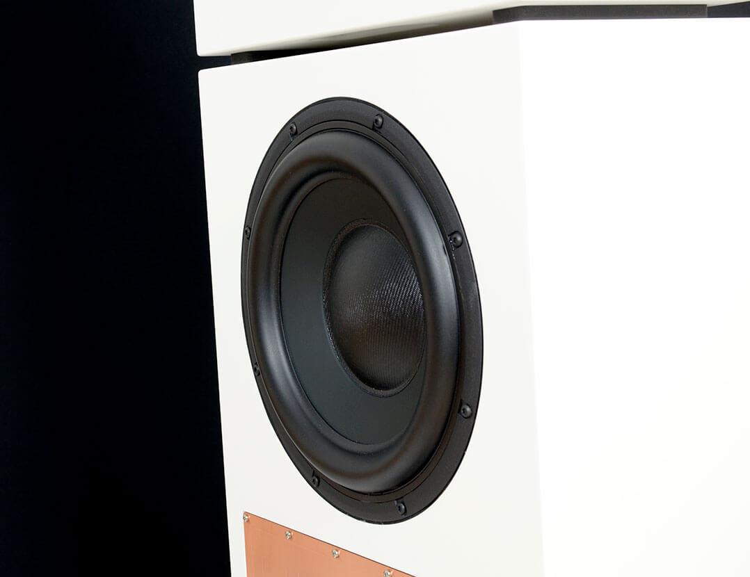 Der 10-Zoll-Basstreiber (hier die XT-Variante) der Karlina Pure sitzt auf der Rückseite des Lautsprechers