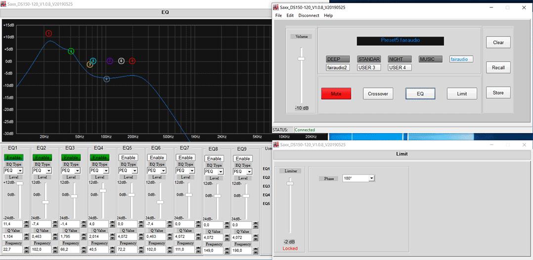 Software-gestützt lassen sich am Saxx DS 120 DSP viele Einstellungen vornehmen