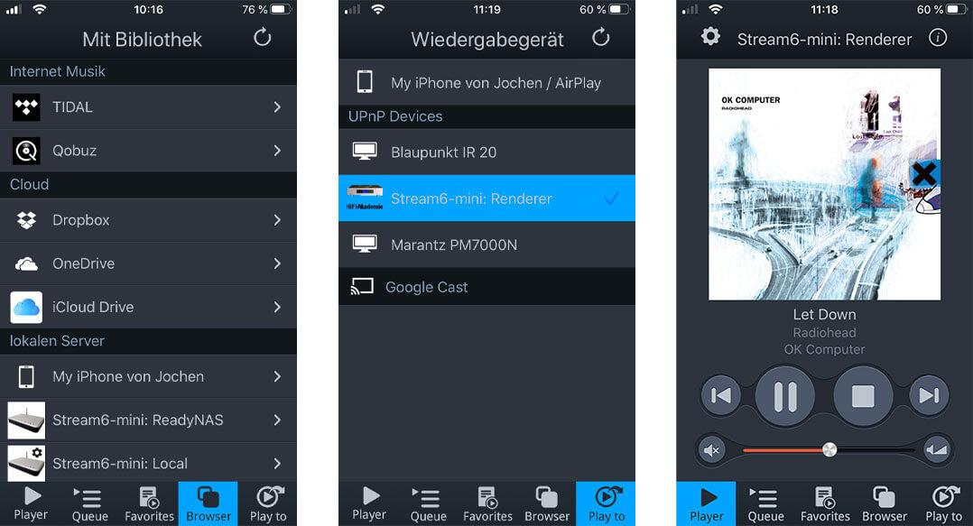 Der HiFiAkademie Stream6-mini lässt sich auch komfortabel mit einer App wie mConnect steuern