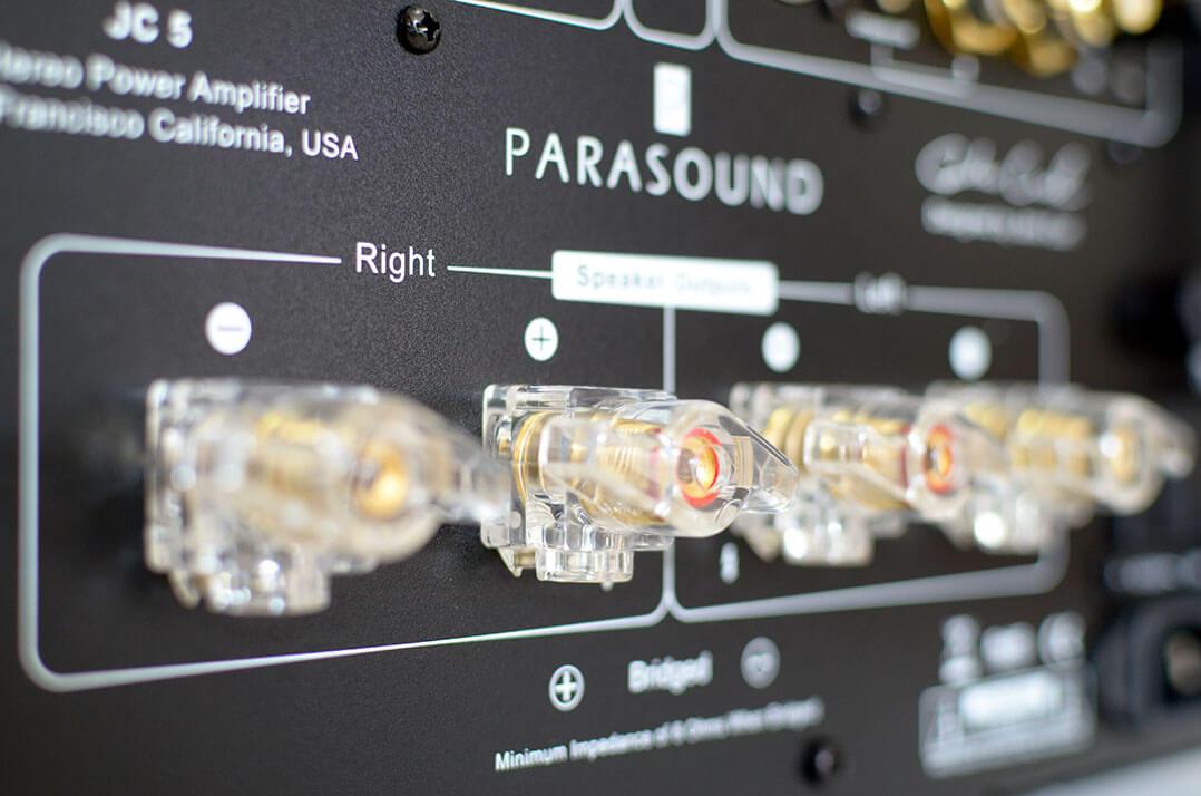 Lautsprecherterminal des Parasound Halo JC 5
