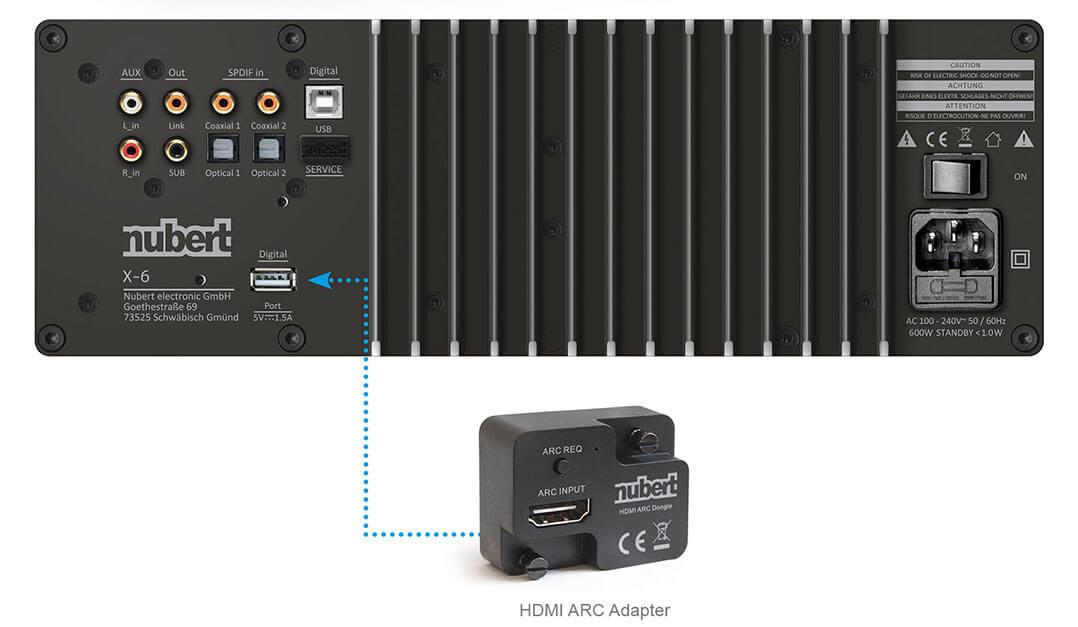 Zukunftssicher: Der Nubert nuPro XS-7500 wird mit externem HDMI-Modul geliefert, das sich, sollte es eine neue Version des HDMI-Standards geben, gegen einen aktualisierten Adapter austauschen lässt