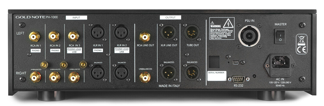 Gold Note PH-1000 Phonovorverstärker Heckansicht mit Anschlussfeld