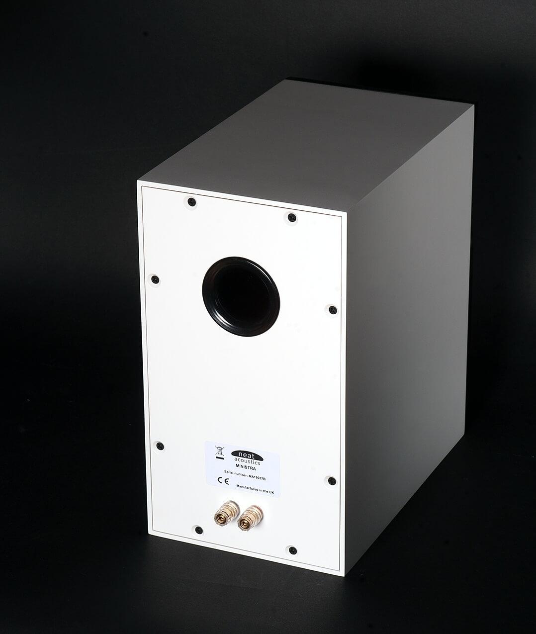 Neat Acoustics Ministra Lautsprecher - Rückseite mit Anschlüssen und Bassreflexsystem