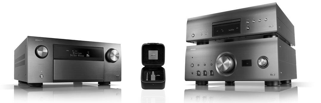 """Die """"110 Jahre""""-Jubiläums-Modelle von links nach rechts: Der AV-Receiver AVC-A110, der Tonabnehmer DL-A110 sowie der Vollverstärker PMA-A110 und der passende CD-Spieler DCD-A110"""