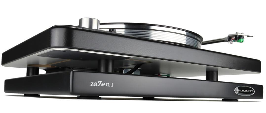 IsoAcoustics zaZen Gerätebasis im Einsatz mit einem Plattenspieler