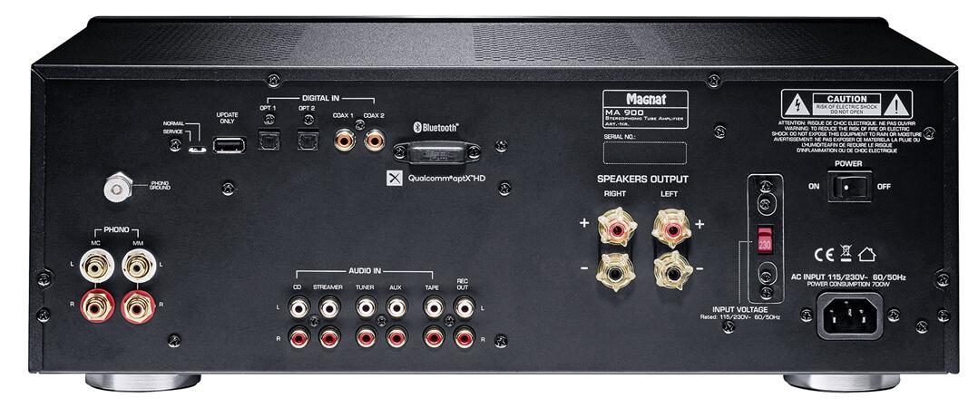 Magnat MA 900: Die Rückseite ist gut bestückt - mit Hochpegeleingängen, digitalen Schnittstellen und Phono-Anschlüssen für MM und MC