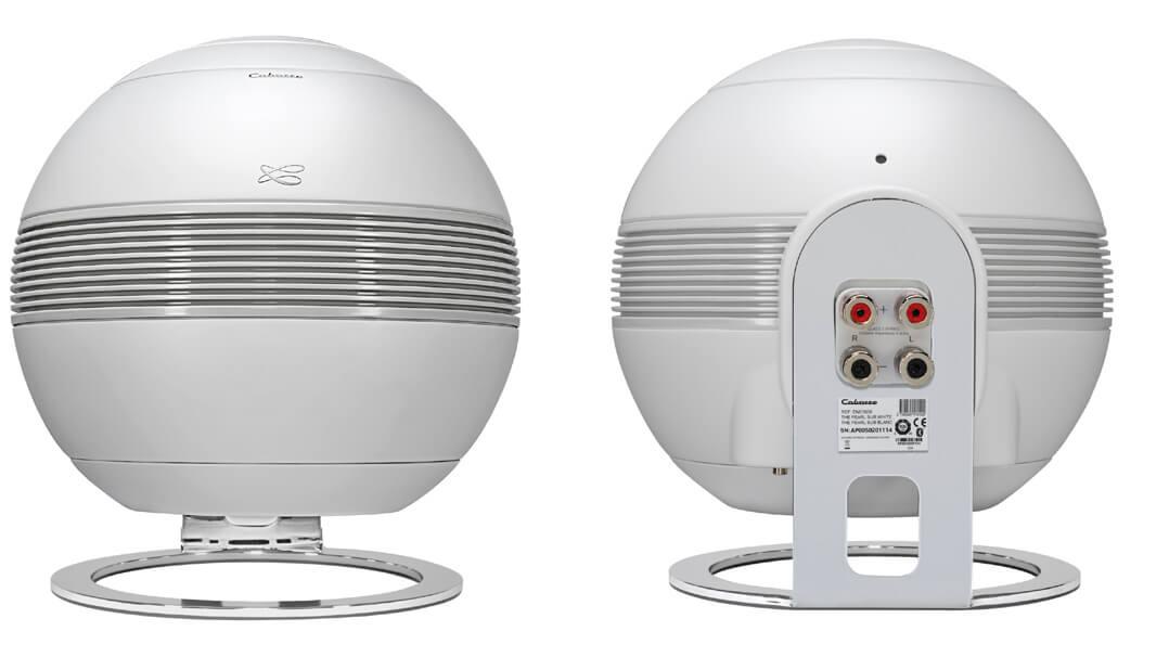 Seitenansichten vom Cabasse Pearl Sub: Rechts sieht man die Lautsprecherklemmen für den Anschluss von Satelliten