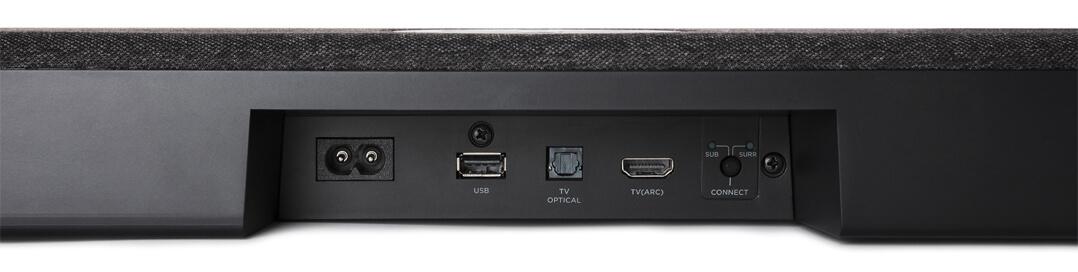 Polk Audio React Soundbar Anschlussfeld: HDMI ARC, Toslink und USB sowie ein Bluetooth-Empfänger gestatten vielfältiges Zuspielen
