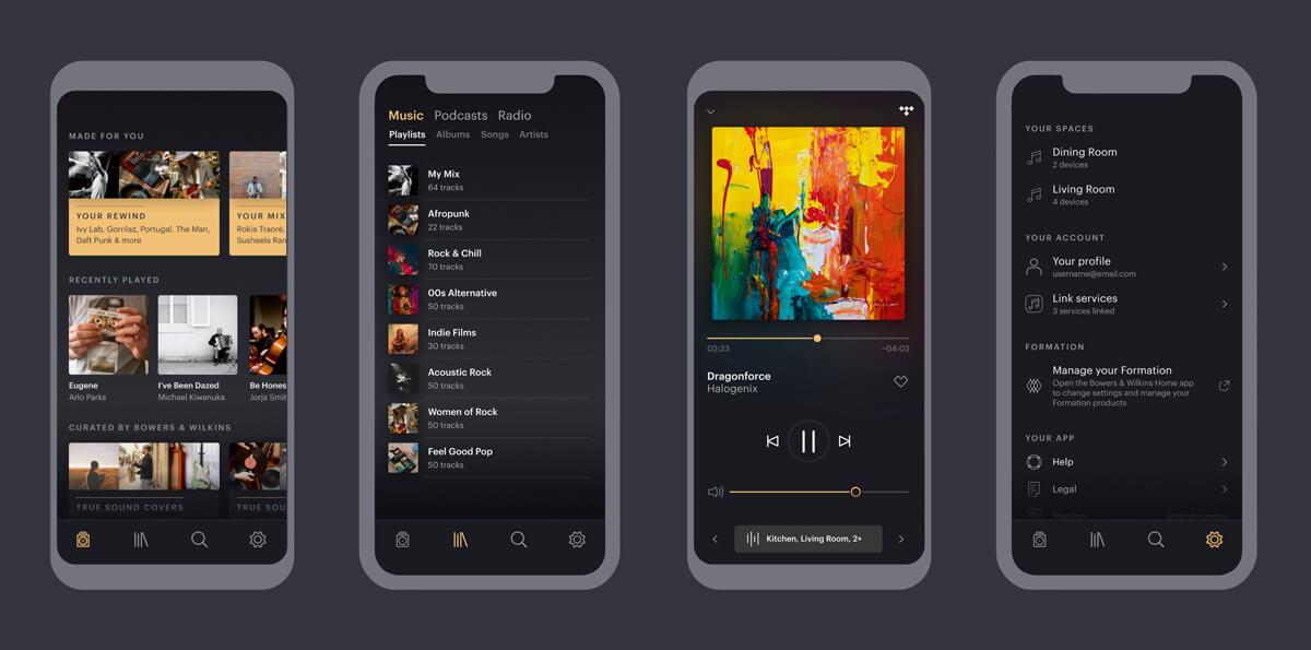 Bowers&Wilkins Music App verschiedene Ansichten