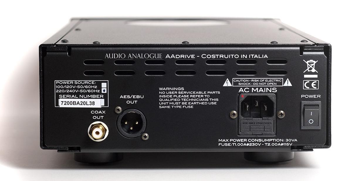 Das Anschlussfeld des Audio Analogue AAdrive