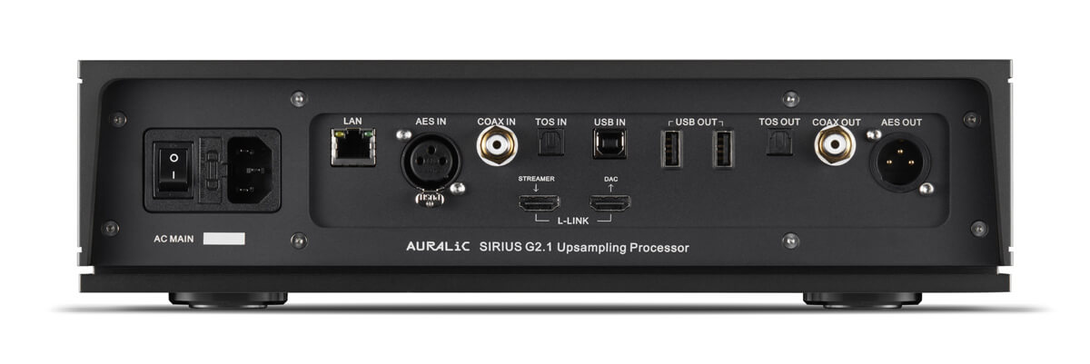 Auralic Sirius G2.1 Soundprozessor Rückseite: Digital geht's rein - und auch wieder heraus ...