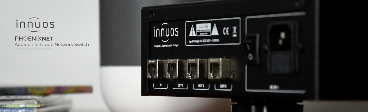 Innuos PhoenixNET Netzwerk-Switch Rückseite mit vier RJ45-Buchse