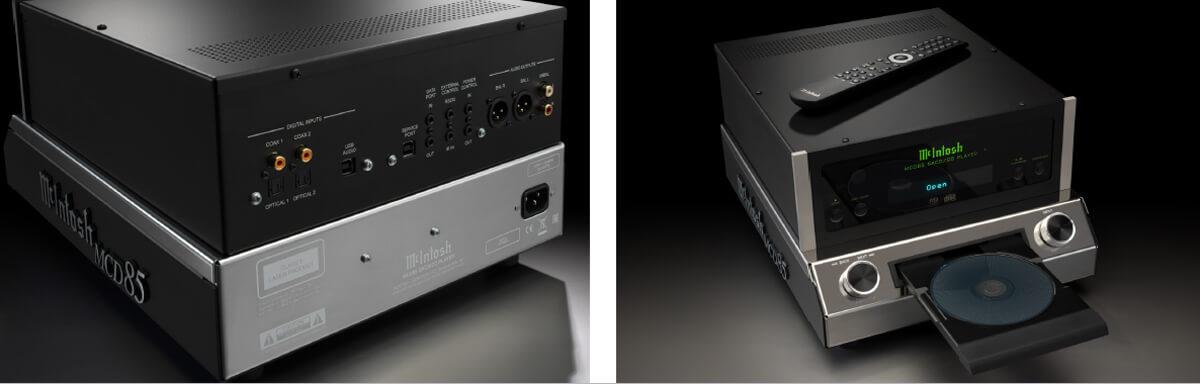 McIntosh MCD85 CD-/SACD-Spieler Seiten- und Rückansicht