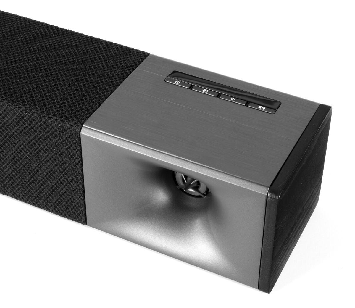 Klipsch Cinema 600 Soundbar: Blick auf den rechten Hochtöner mit dem typischen Klipsch-Hornvorsatz