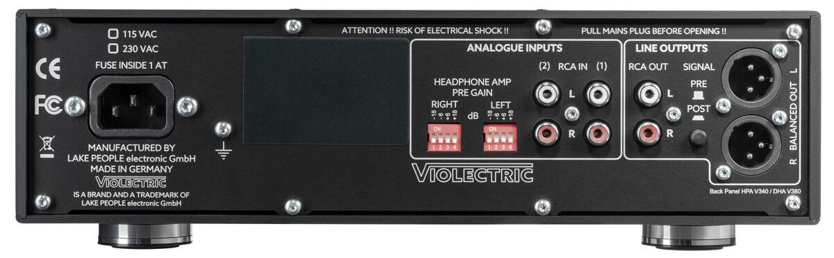 Violectric HPA V340 Kopfhörerverstärker Rückseite