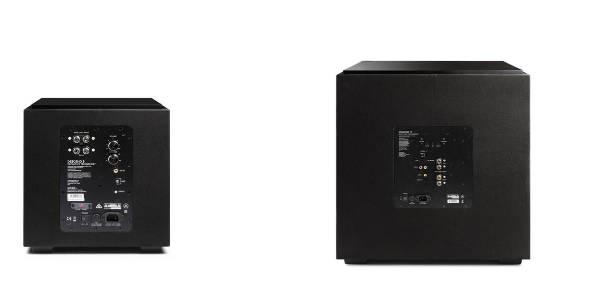 Kleiner und großer Bruder in der Rückansicht: der DN8 und DN12 von Definitive Technology