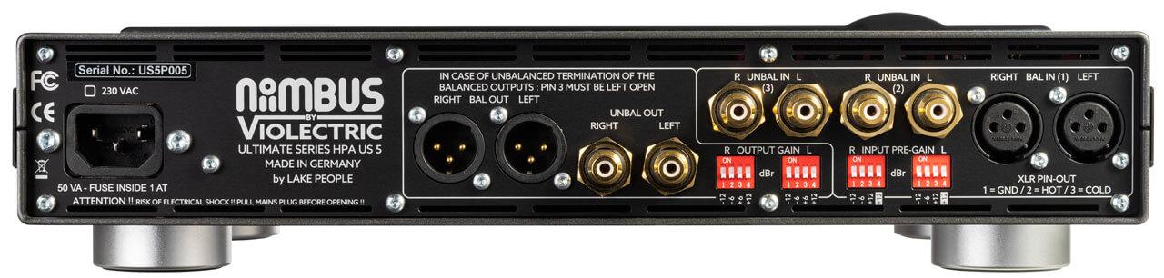 Niimbus US 5 Kopfhörerverstärker - Rückseite mit Schnittstellen