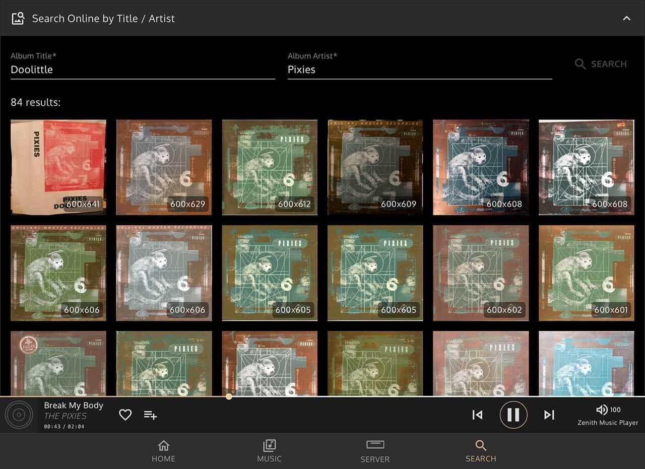 Welches Coverbild soll's denn sein? Die Innuos-Sense-App biete intuitive Editiermöglichkeiten inklusive einer leistungsfähigen Cover-Suche