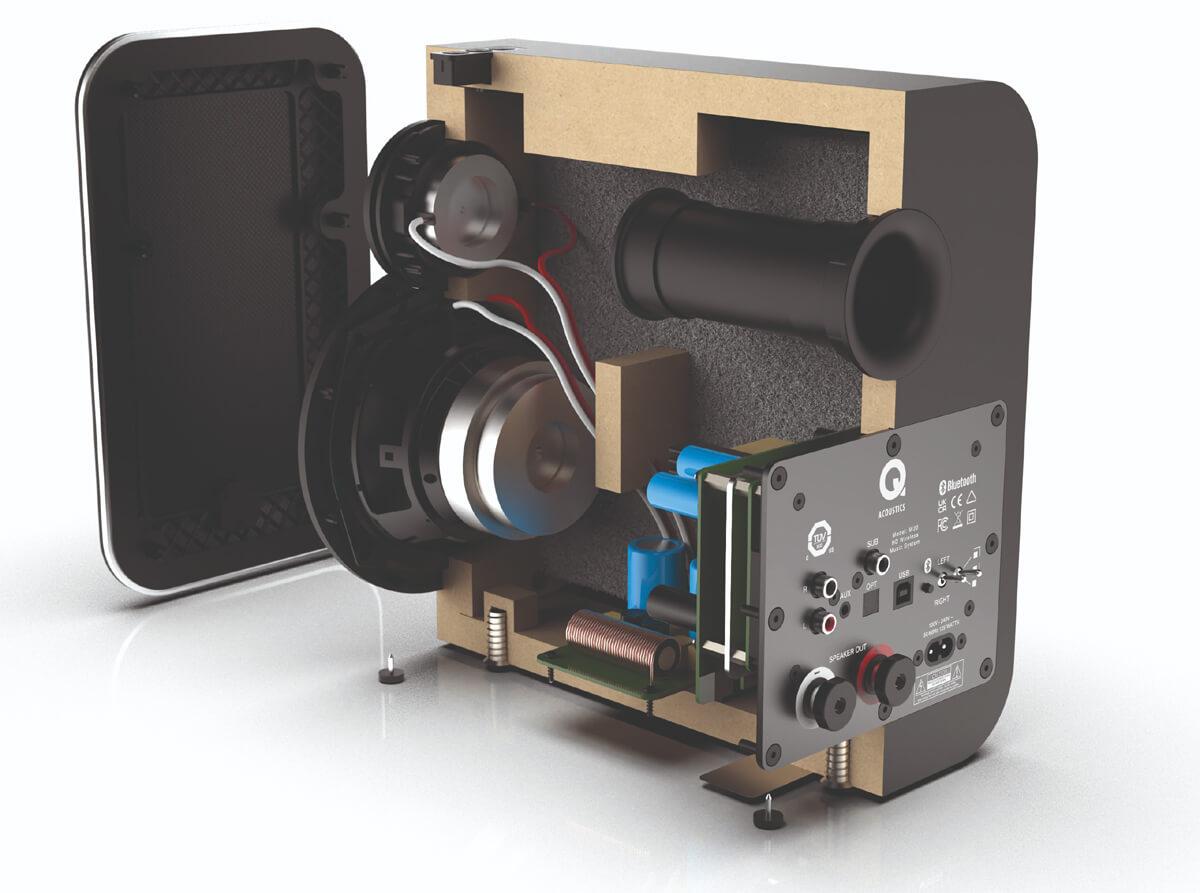Blick in das Innenleben der Master-Box des Q Acoustics-M20-Audiosystem