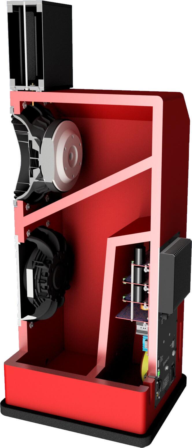 Schnittzeichnung der Oscara 212: Wie man sieht, gibt es separate Kammern für die beiden 12-Zöller und die Elektronik
