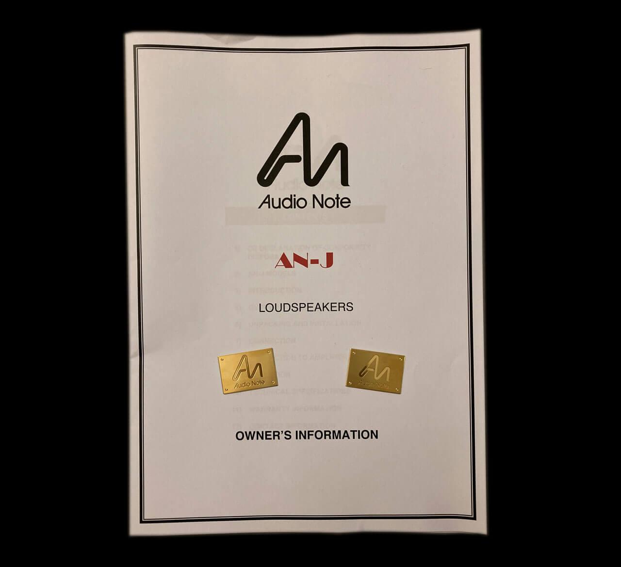 Audio Note AN-J/LX HEMP: Owner's Information