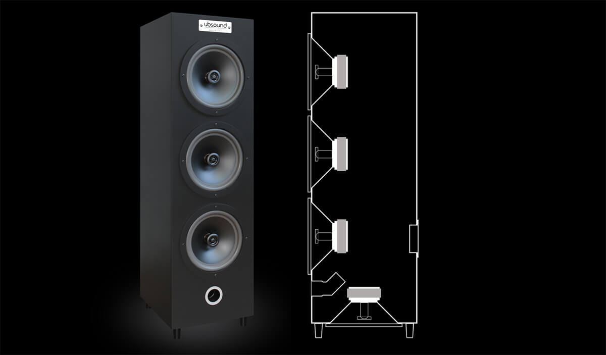 Ubsound Multico ML 68: Drei Koaxsysteme spielen Richtung Hörer - und einer nach unten