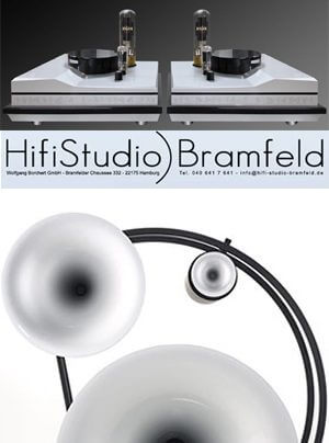 HiFi Studio Bramfeld mit Rike Audio Edzard Röhrenverstärker und Avantgarde Acoustic Trio Hornlautsprecher