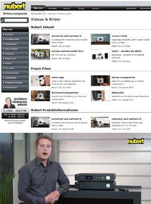 Nubert Website mit vier neuen Produkt- und Veranstaltungsvideos
